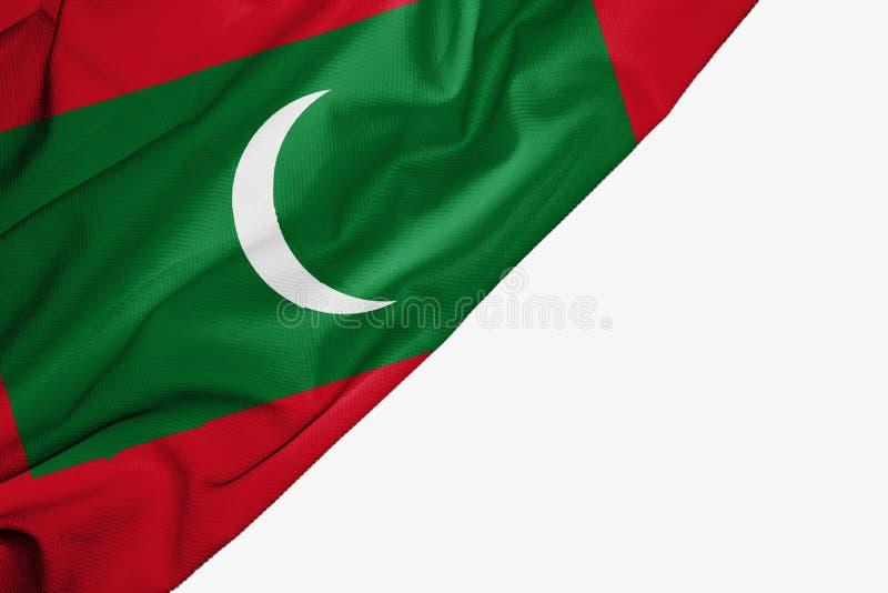 织品马尔代夫旗子与copyspace的您的在白色背景的文本的 皇族释放例证