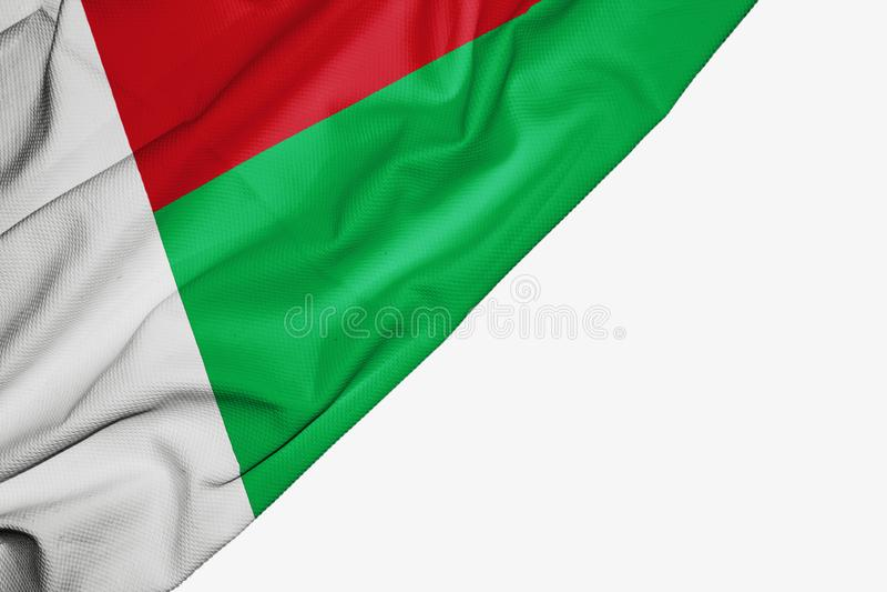 织品马达加斯加旗子与copyspace的您的在白色背景的文本的 向量例证