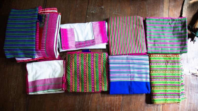 织品,纹理,背景,与美丽的泰国手工制造织品 库存图片