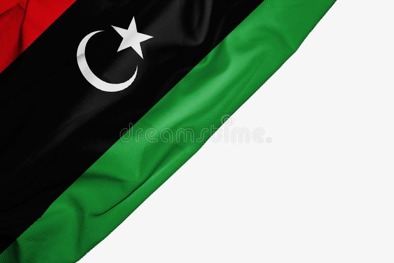 织品Libia旗子与copyspace的您的在白色背景的文本的 皇族释放例证
