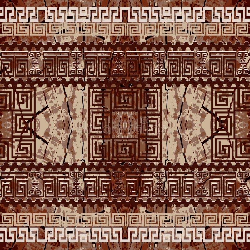 织地不很细华丽希腊边界无缝的样式 抽象木样式装饰背景 重复几何背景 希腊钥匙 皇族释放例证