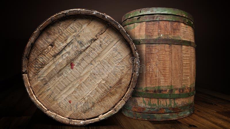 织地不很细木和铁啤酒厂桶-裁减路线 库存照片