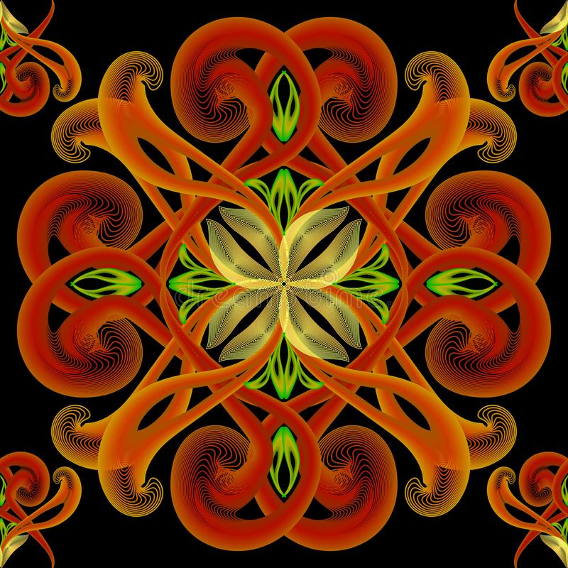 织地不很细现代五颜六色的被阐明的传染媒介无缝的样式 花卉霓虹花背景 手拉的葡萄酒被弄脏的发光 皇族释放例证