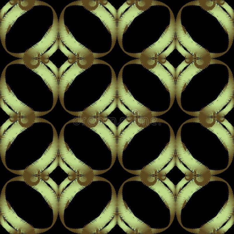 织地不很细豪华刺绣传染媒介无缝的样式 华丽几何难看的东西背景 重复挂毯摘要装饰品 ?? 库存例证