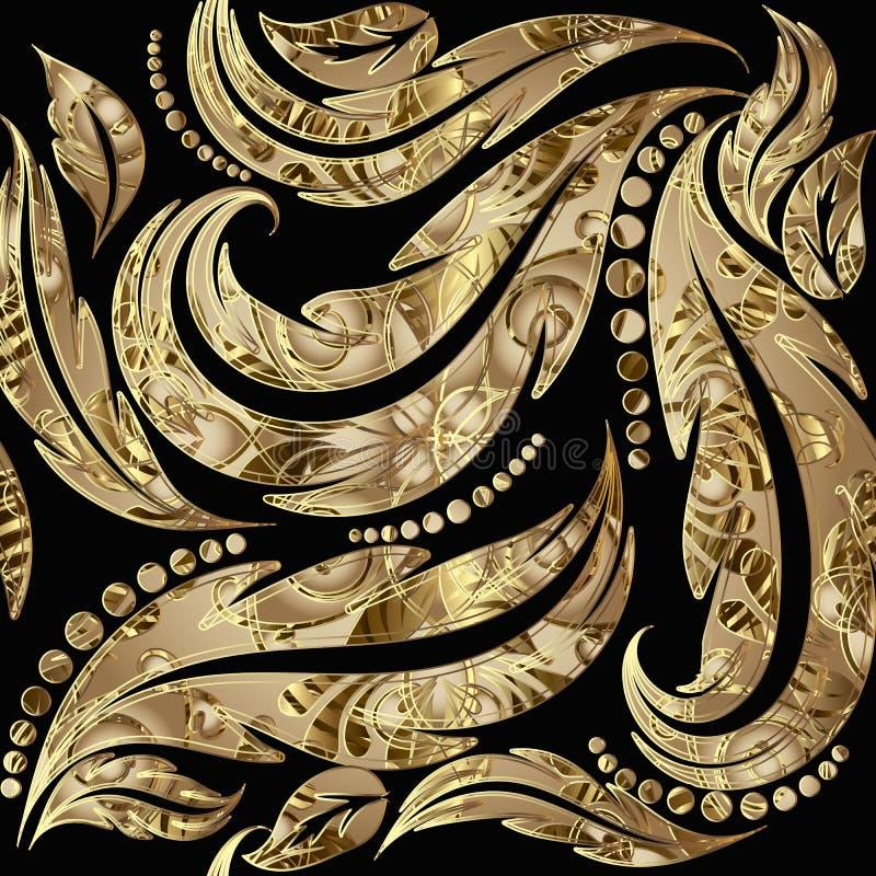 织地不很细难看的东西金3d巴洛克式的无缝的样式 传染媒介装饰叶茂盛背景 重复被仿造的花卉背景 r 向量例证