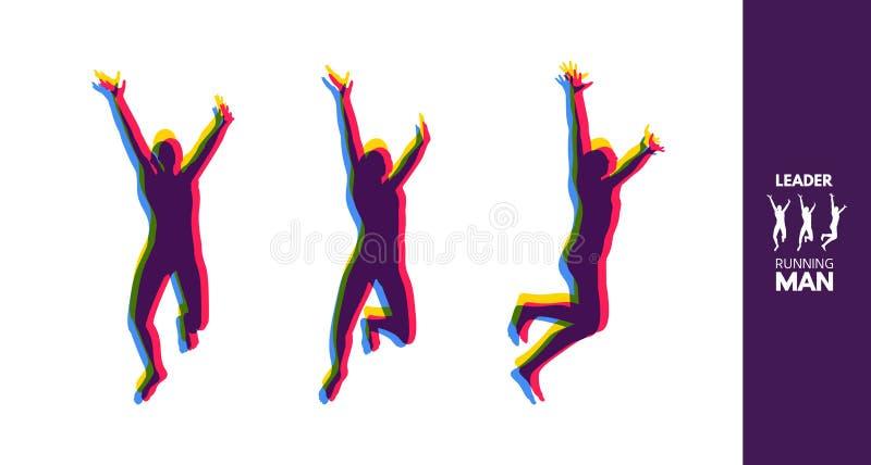 终点线的优胜者 连续人 马拉松和跑步的象征 向量例证
