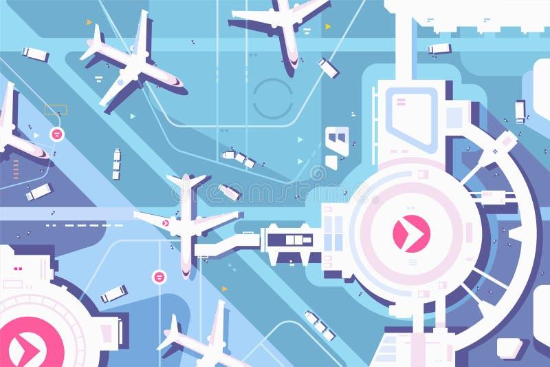 终端机场、飞机和跑道 库存例证