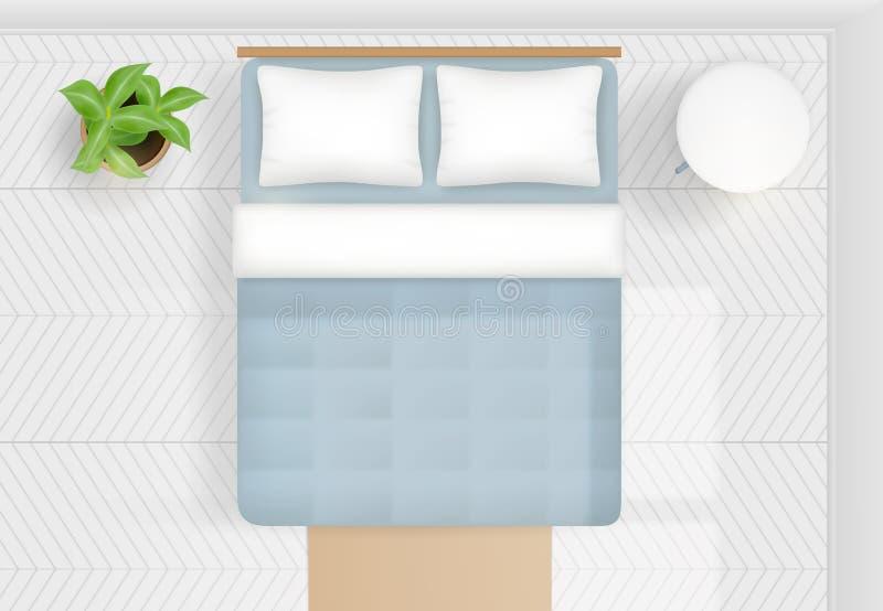 经典与舒适的床的家庭卧室室内设计 顶视图现实传染媒介例证 向量例证