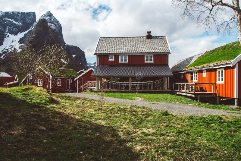 经典之作和罗弗敦群岛海岛的美好的风景有红色渔夫的房子的在海和上流前面 免版税库存照片