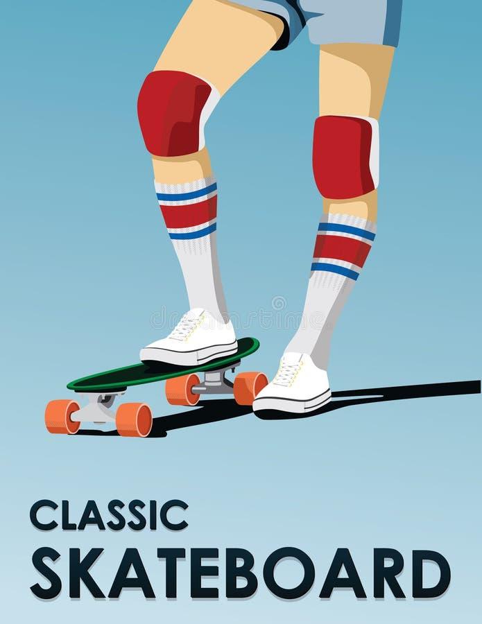 经典之作踩滑板的平的海报设计 免版税库存照片