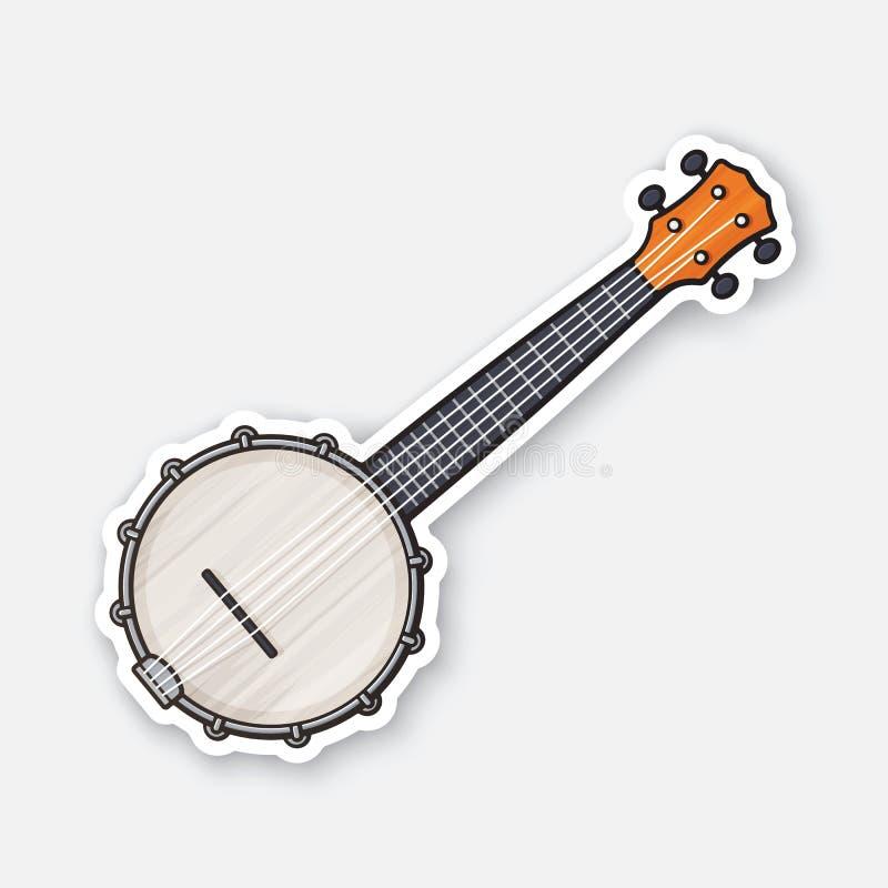 经典乡村音乐班卓琵琶贴纸  向量例证