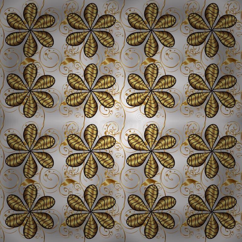 经典传染媒介金黄装饰样式 向量例证