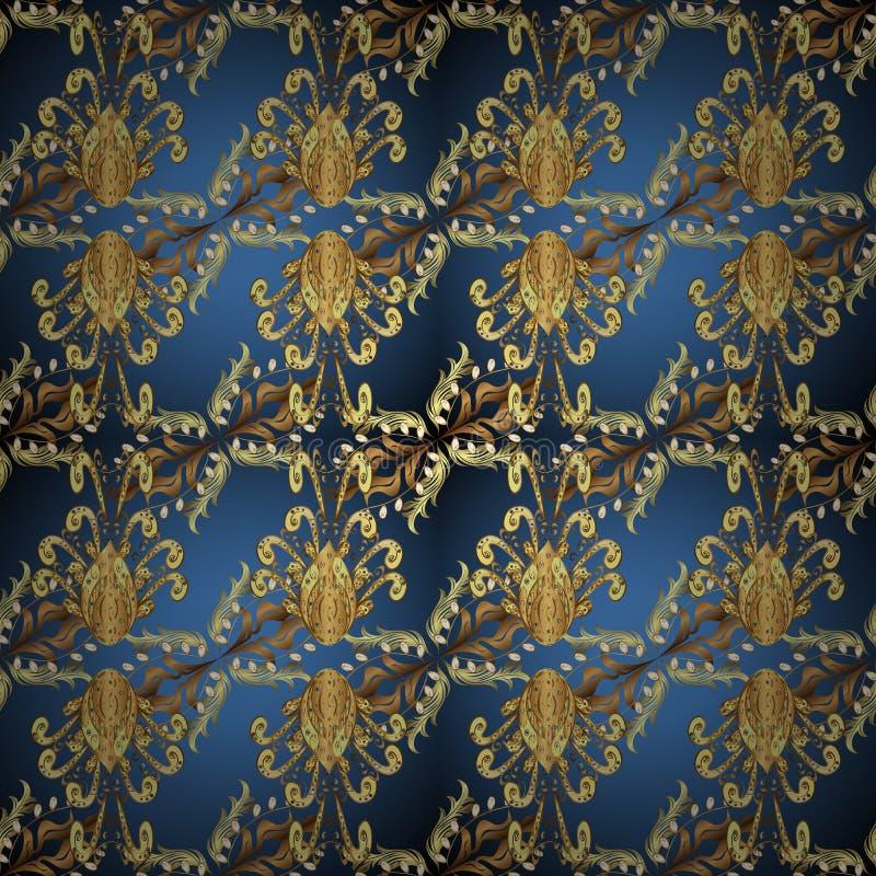 经典传染媒介金黄装饰样式 库存例证