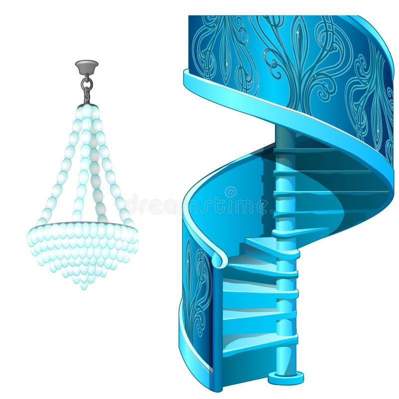 经典冰螺旋形楼梯和水晶枝形吊灯 装饰结冰的内部元素 在白色查出的向量 向量例证