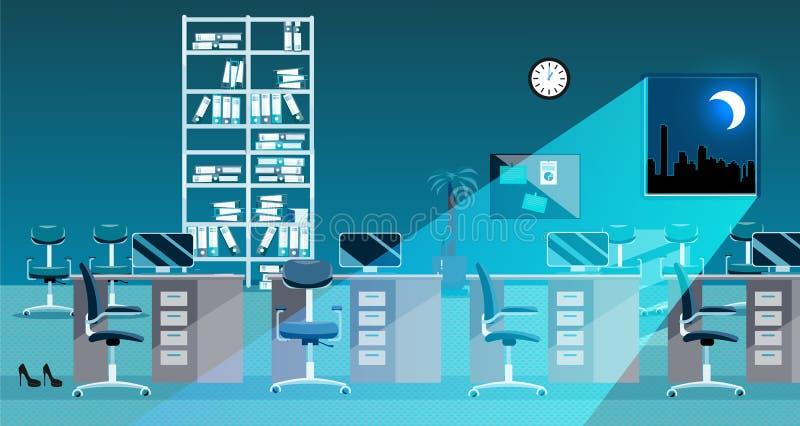经典办公室室内部的平的传染媒介例证在晚上 没有人的露天场所 在桌,文件文件夹上的命令, 库存例证