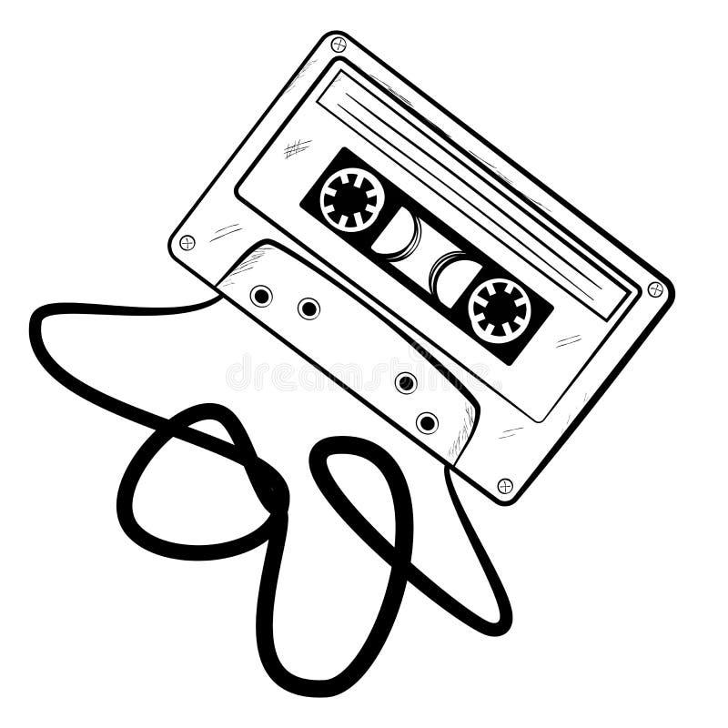 经典卡型盒式录音机,被弄皱的磁带简单的剪影.图片