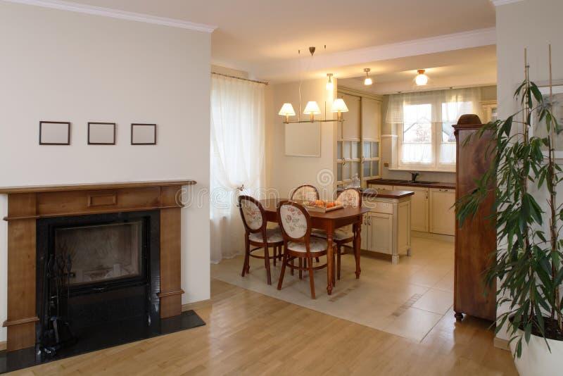经典厨房客厅 免版税库存照片