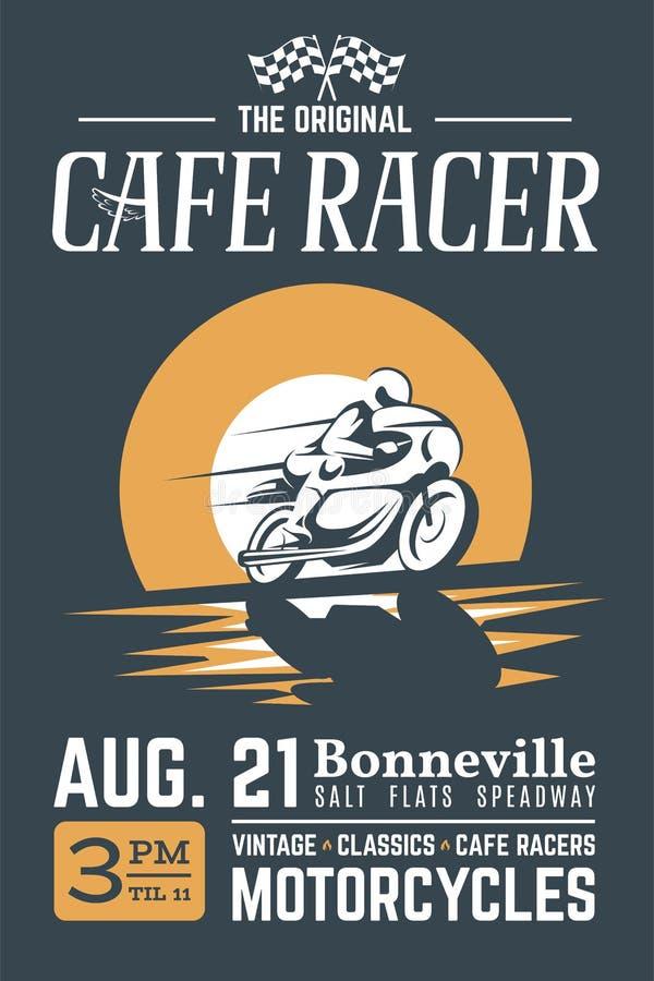 经典咖啡馆竟赛者摩托车海报 向量例证