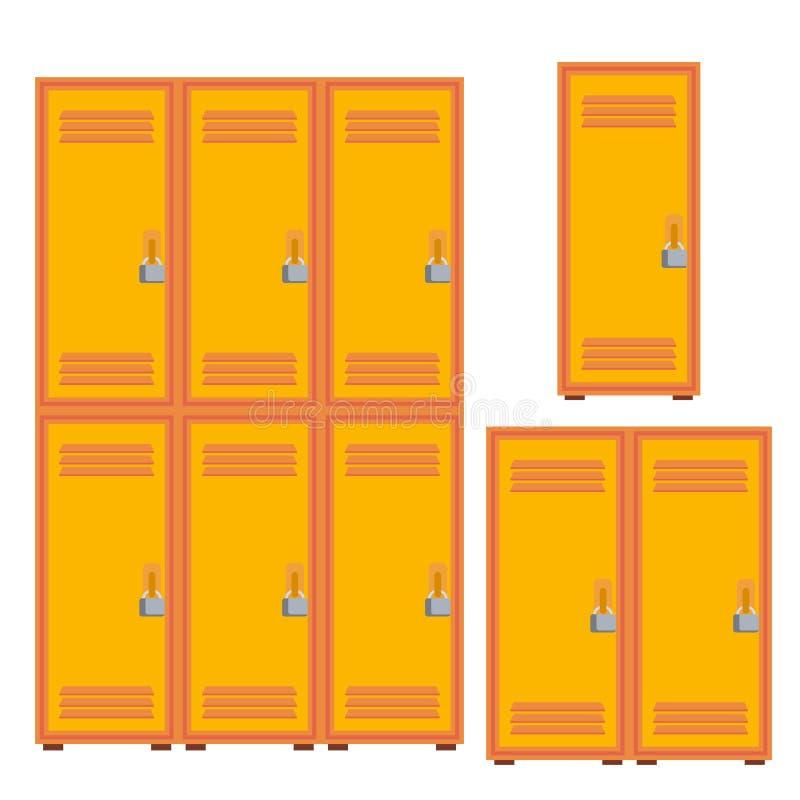 经典学校衣物柜,金属内阁象传染媒介 被隔绝的动画片例证 皇族释放例证