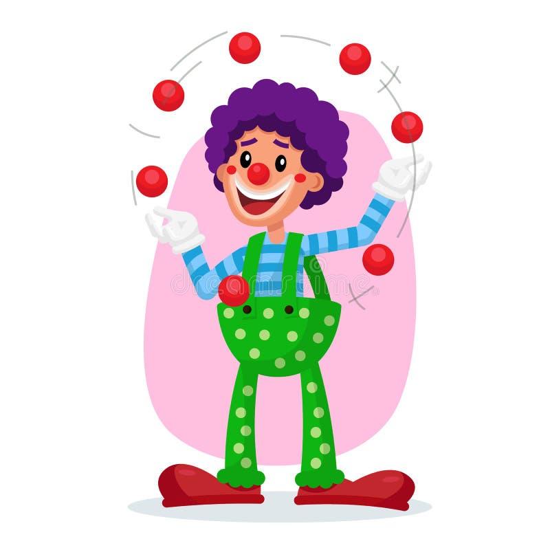 经典小丑传染媒介 惊人的公开马戏展示 人玩杂耍的球 平的动画片例证 向量例证