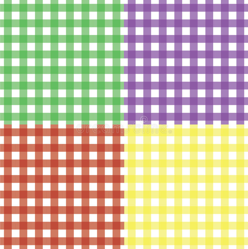 经典无缝的方格花布模式集 库存例证
