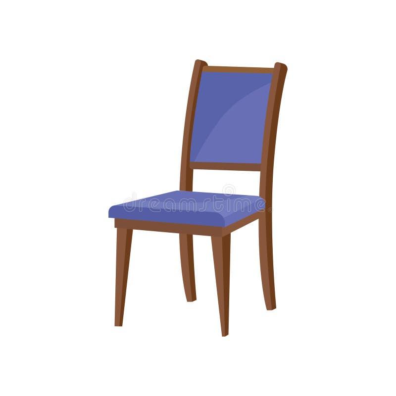 经典木椅子平的传染媒介象与后面架靠背和软的蓝色室内装饰品的 餐厅的家具 库存例证