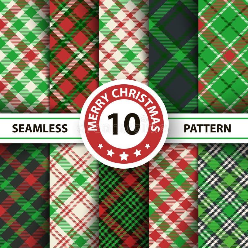 经典格子呢,野餐桌布,方格花布,水牛城,Lamberjack,圣诞快乐检查格子花呢披肩无缝的样式 库存例证