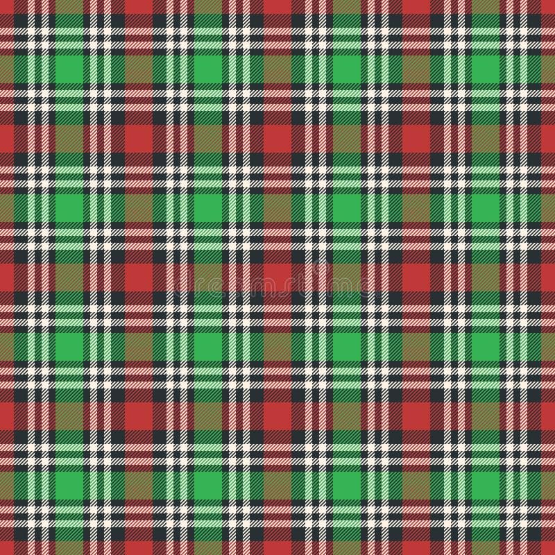 经典格子呢,野餐桌布,方格花布,水牛城,Lamberjack,圣诞快乐检查格子花呢披肩无缝的样式 皇族释放例证