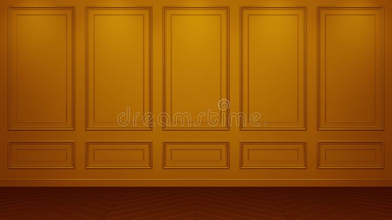 经典橙色内部生存演播室大模型3D翻译 您的蒙太奇的空的室 Copyspace 皇族释放例证