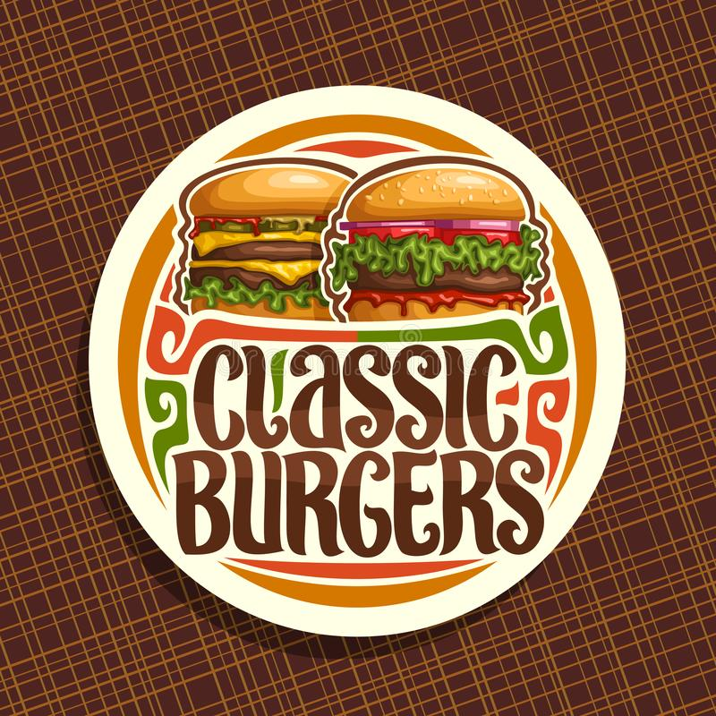 经典汉堡的传染媒介商标 库存例证