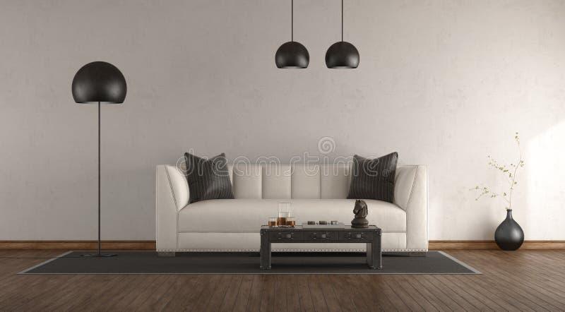 经典沙发在一个绝尘室 免版税库存照片