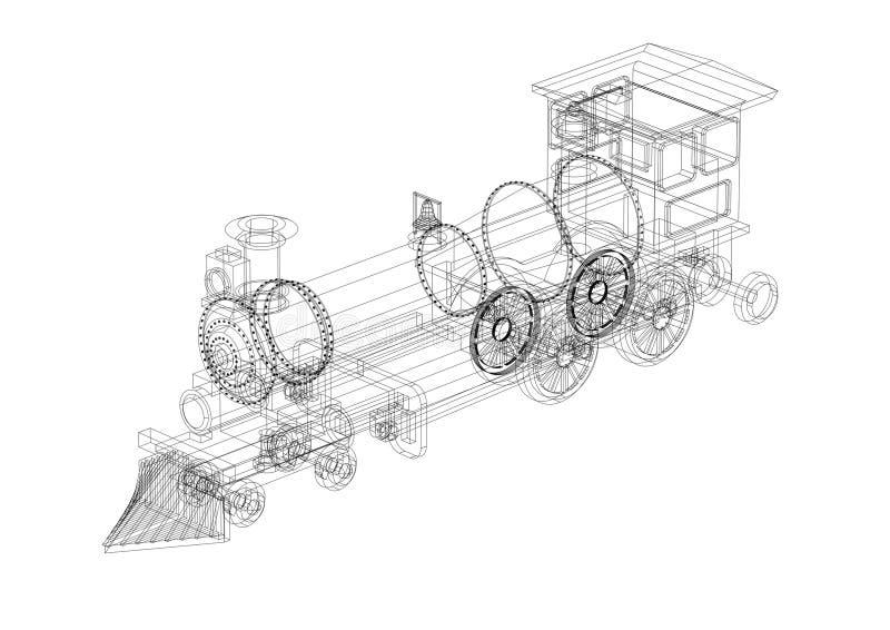 经典火车建筑师图纸 皇族释放例证