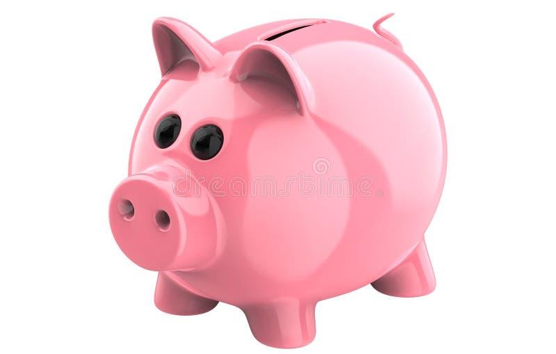 经典猪存钱罐, 3d在白色回报被隔绝背景 皇族释放例证