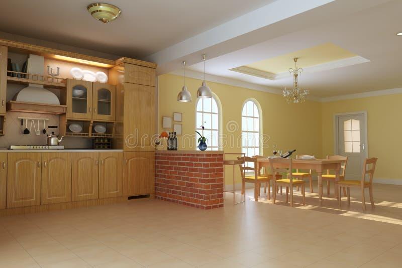 经典用餐的厨房豪华空间 库存例证