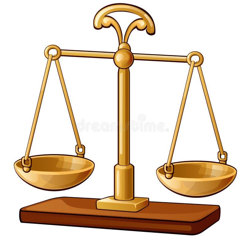 经典的金子倒空标度 正义,平衡,测量,决定概念 在白色查出的图象 向量 皇族释放例证