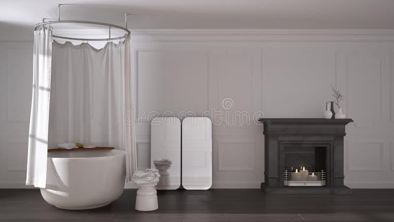经典空间的葡萄酒卫生间与老壁炉和镶花地板,现代内部 向量例证