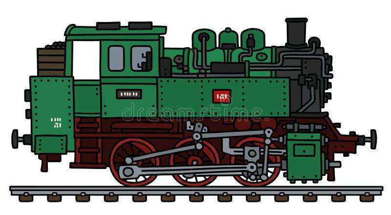 经典绿色煤水柜机车机车 皇族释放例证