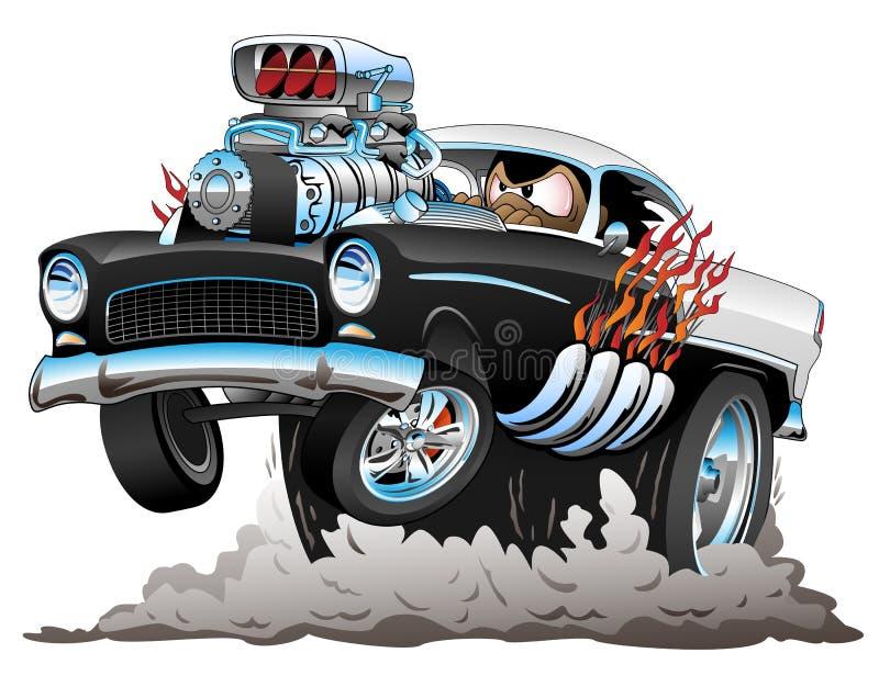 经典美国与大引擎,火焰,抽烟的轮胎的五十年代样式旧车改装的高速马力汽车滑稽的汽车动画片,流行自行车前轮离地平衡特技,传染媒介Illustr 向量例证