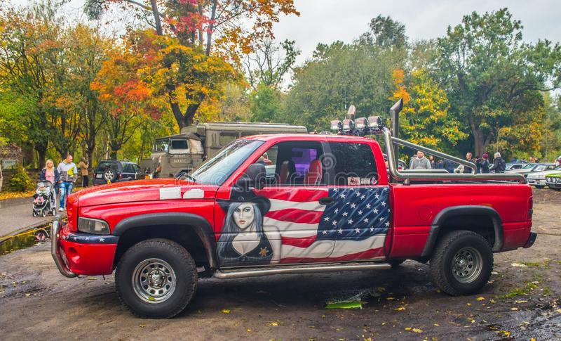 经典美国人car van truck绘了 库存图片
