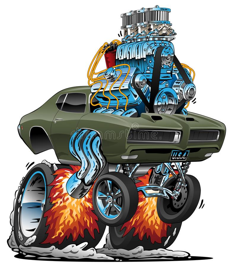 经典美国肌肉汽车旧车改装的高速马力汽车动画片传染媒介例证 向量例证