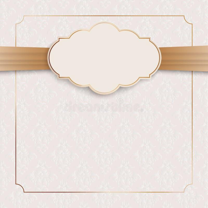经典装饰品高尚的金黄框架象征丝带 向量例证