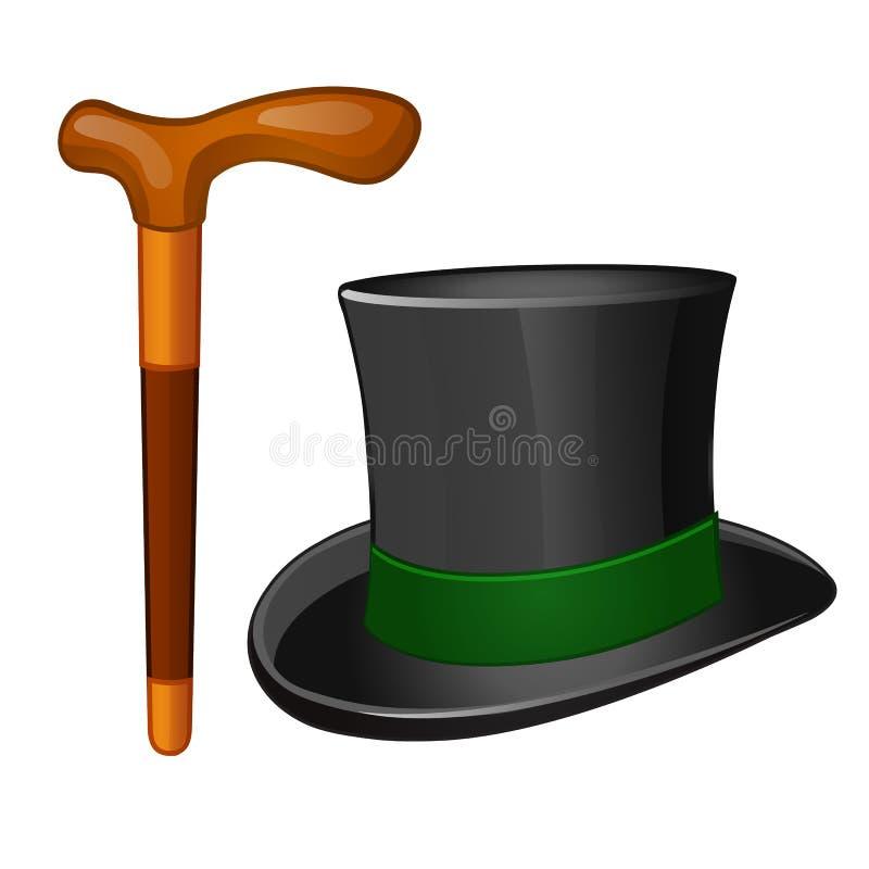 经典辅助部件绅士 在白色背景和拐棍隔绝的圆筒帽子 也corel凹道例证向量 皇族释放例证