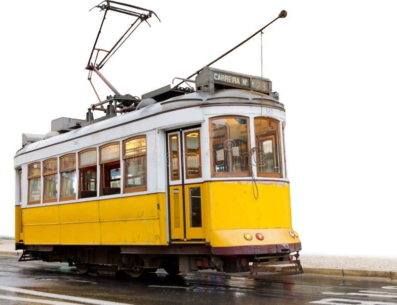 经典里斯本电车空白黄色 库存照片