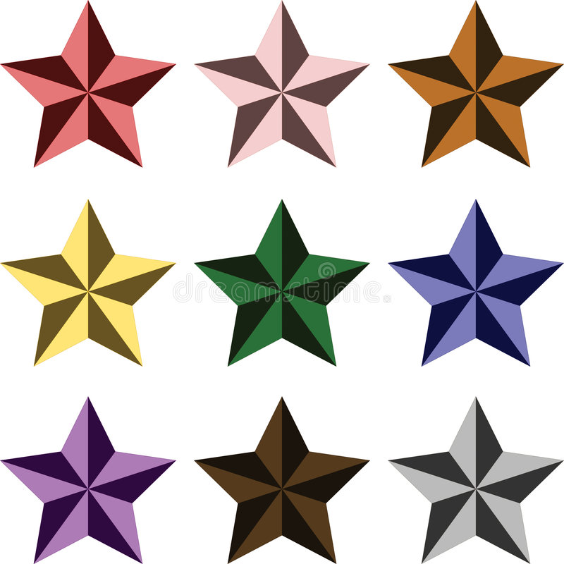 经典颜色多星形 库存图片