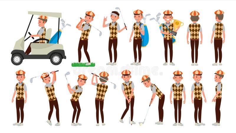 经典高尔夫球运动员传染媒介 在路线射击的摇摆 不同的姿势 平的动画片例证 向量例证