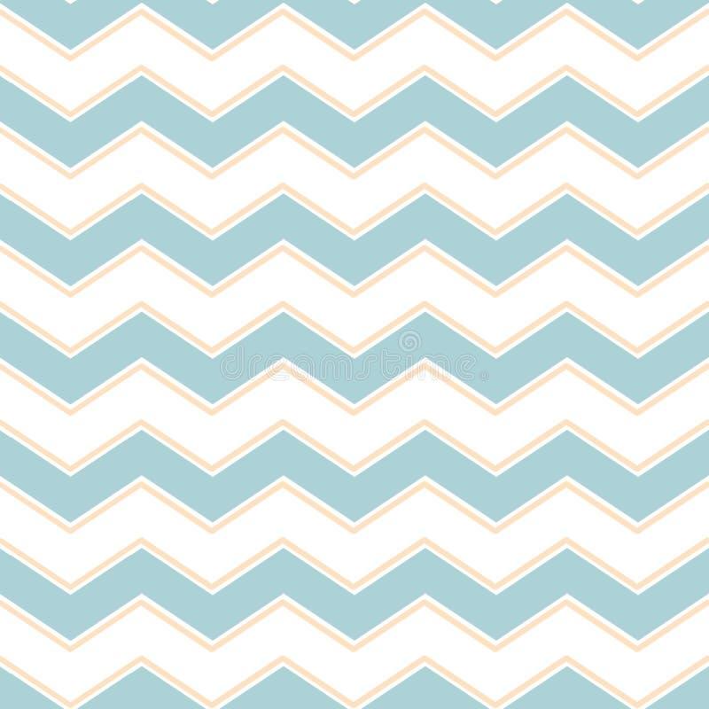 经典V形臂章之字形无缝的样式 孟菲斯小组样式淡色蓝色导航柔和的背景 向量例证
