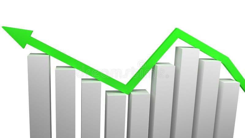 经济增长的概念和与在白色3d隔绝的金制马上的齿龈的企业成功回报 库存图片