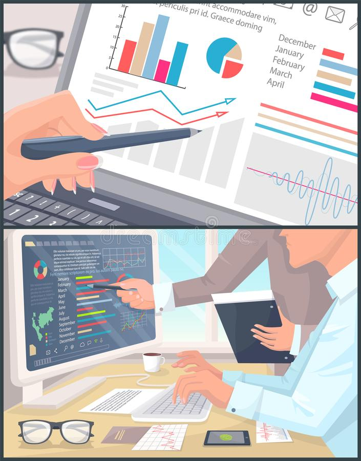 经济情况统计和逻辑分析方法颜色海报 向量例证