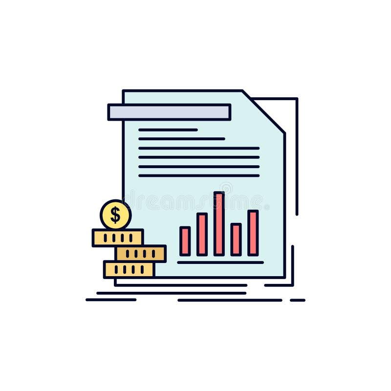 经济,财务,金钱,信息,报告平的颜色象传染媒介 库存例证