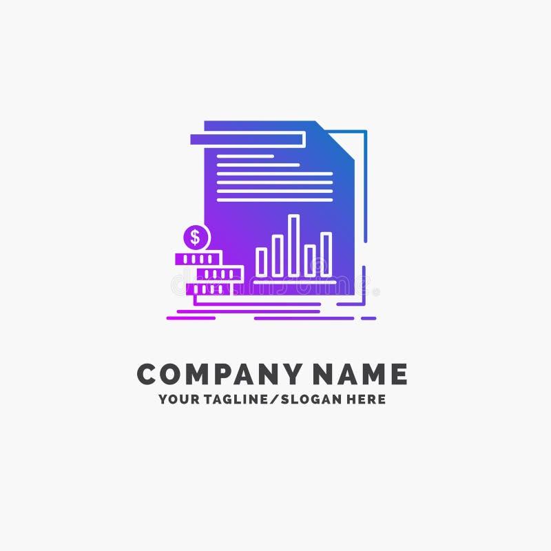 经济,财务,金钱,信息,报告紫色企业商标模板 r 库存例证